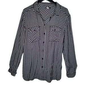 4/$25 UO BDG Navy Blue Red Plaid Button Up